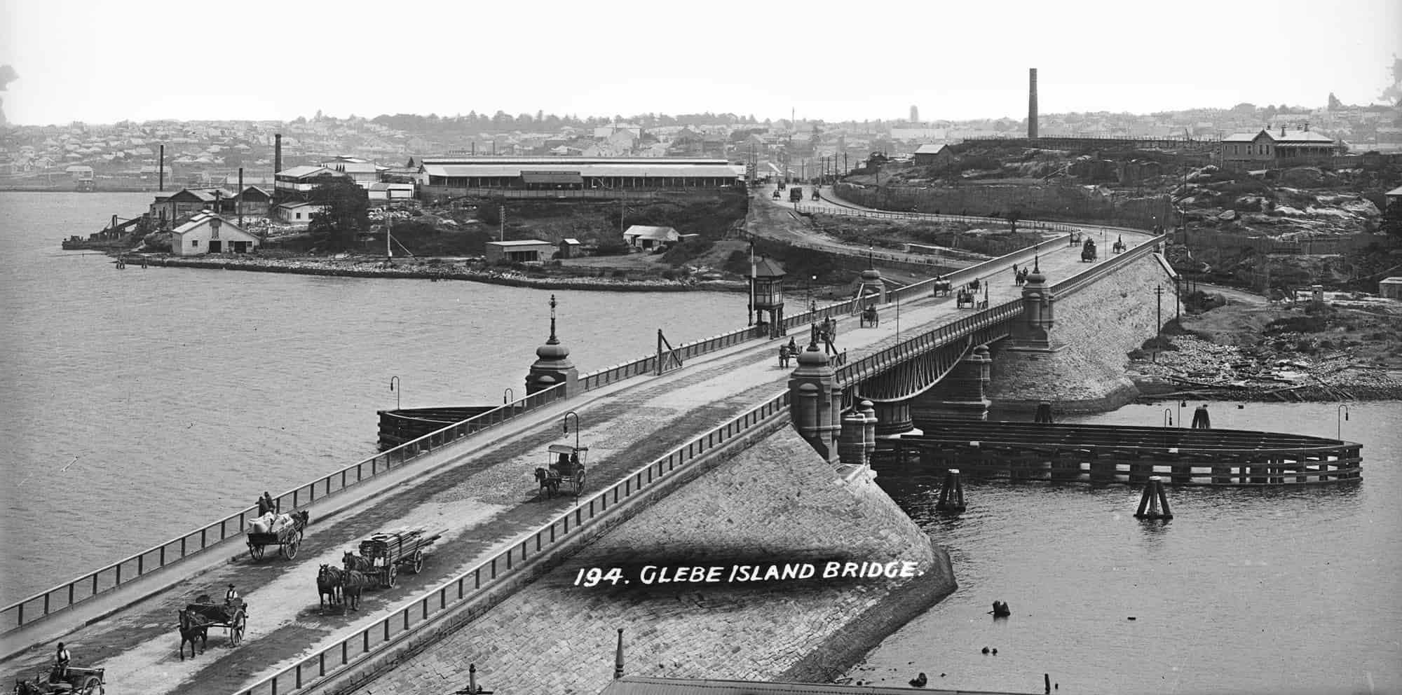 Glass plate negative of Sydney's Glebe Island swing bridge with Glebe Island abattoir in the background, 1903-1915 2020, Museum of Applied Arts & Sciences