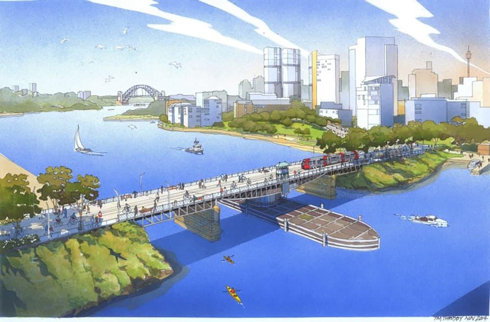 """Glebe Island Bridge - Possible Future"" Artists Impression, copyright City of Sydney (with permission)"