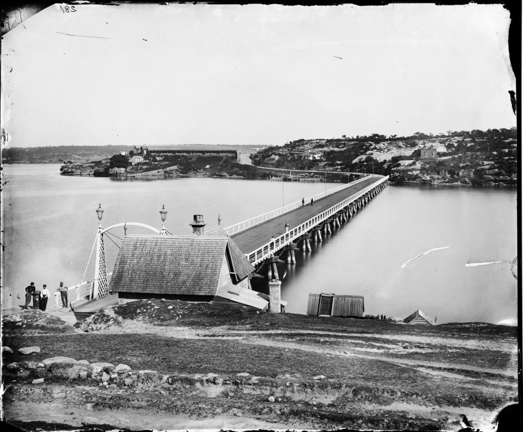 A2825010h From the Holtermann collection. The first Glebe Island Bridge.